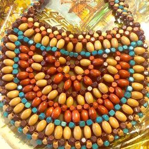 NWOT turquoise & brown beaded handbag